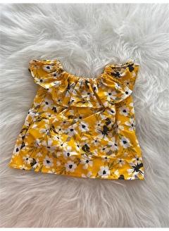 Moda Lina Kız Bebek Beyaz Çiçek Desenli Sarı Bluz